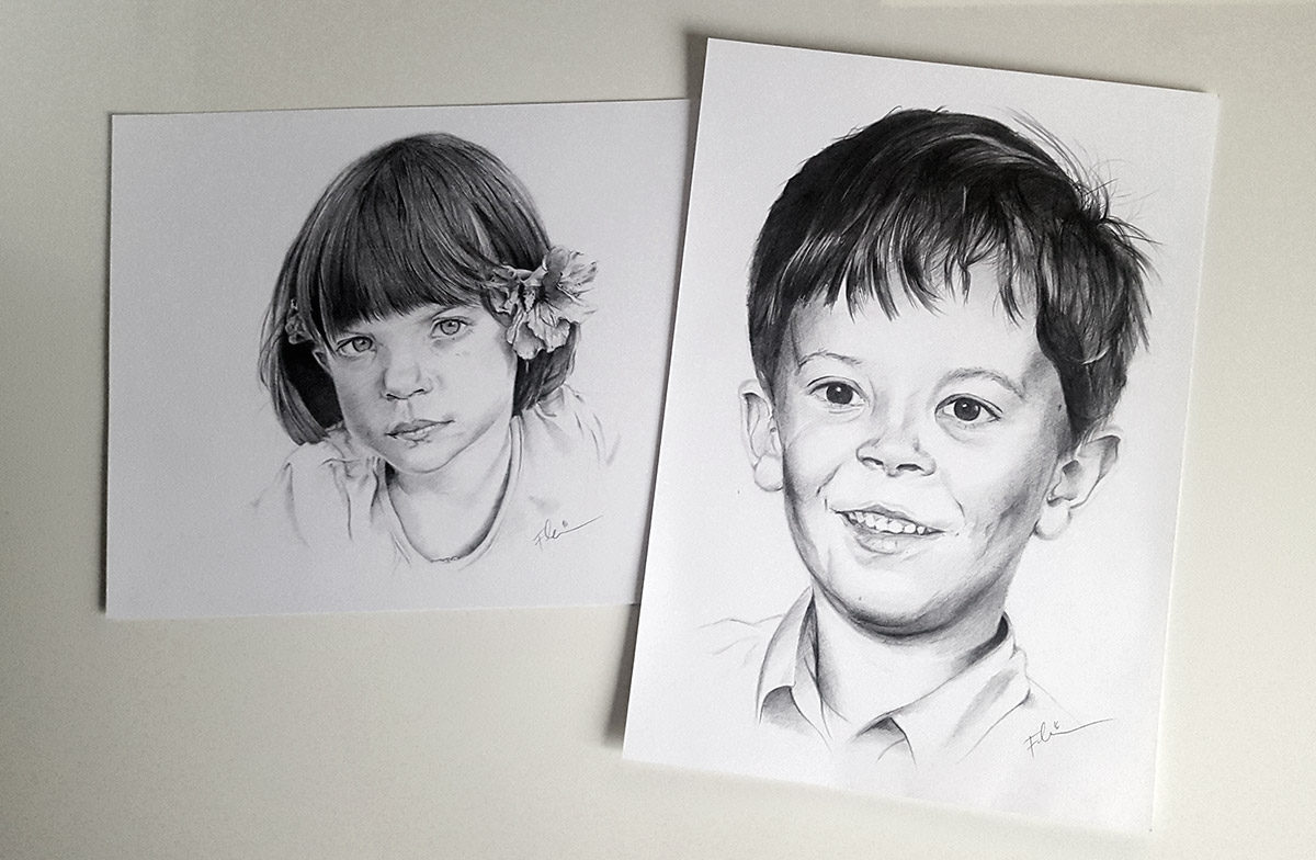 Portrait from photo - two kids, pencil on white paper