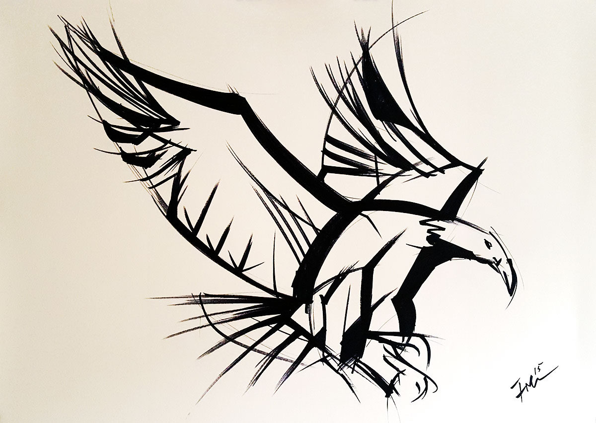 Eagle Attack - black marker sketch of a bird