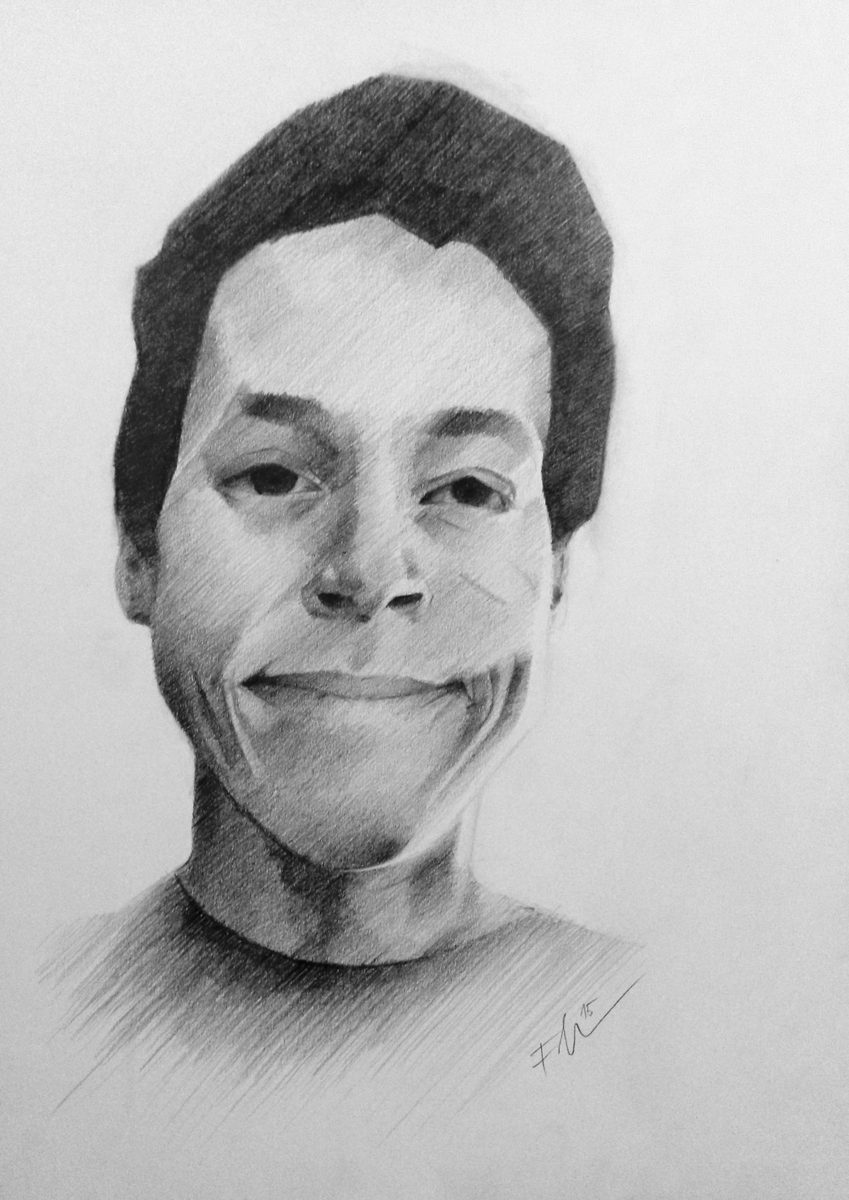 Stylized portrait drawing of a boy - A4, pencils