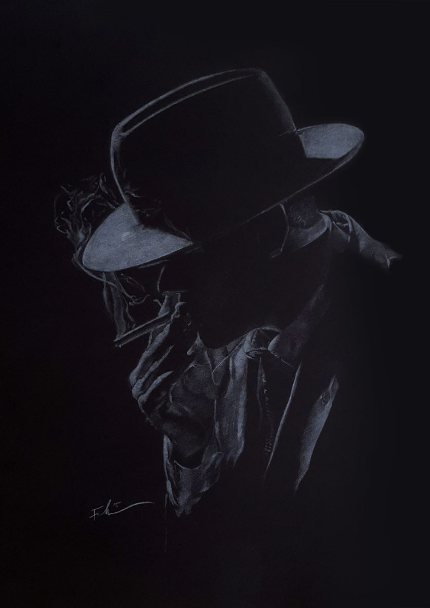 Portrait - Smoking man in hat, white pencil on black paper